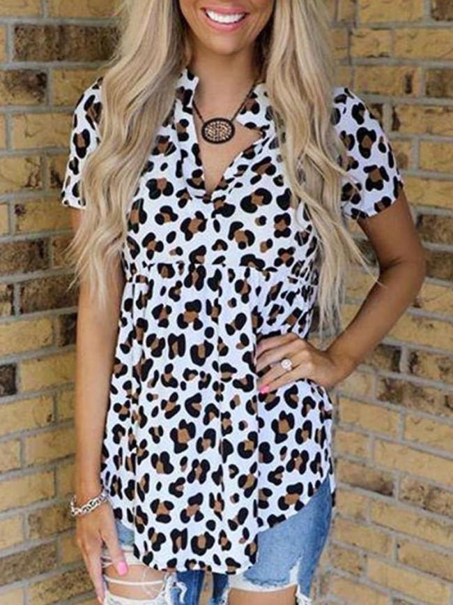Fashion Leopard print V neck Short sleeve T-Shirts