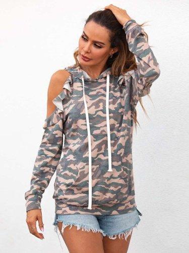 Fashion Camouflage printed Off shoulder Long sleeve Sweatshirts