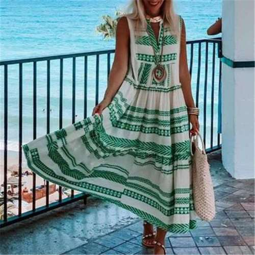 Casual Loose Stripe V neck Sleeveless Maxi Dresses