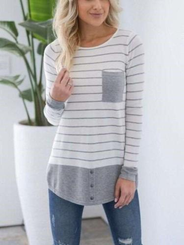 Casual Stripe Gored Round neck Long sleeve T-Shirts