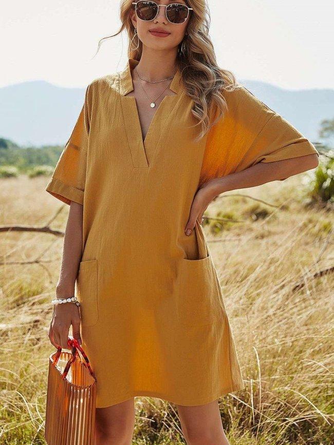 Casual Loose Pure V neck Short sleeve Pocket Shift Dresses