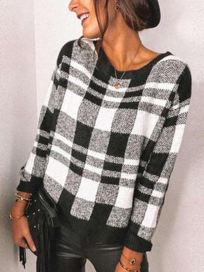 Casual Plaid print Round neck Long sleeve T-Shirts