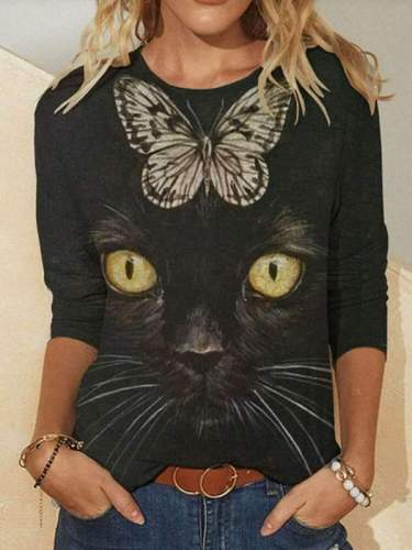 Casual Cat& Butterfly print Rpund neck Long sleeve T-Shirts