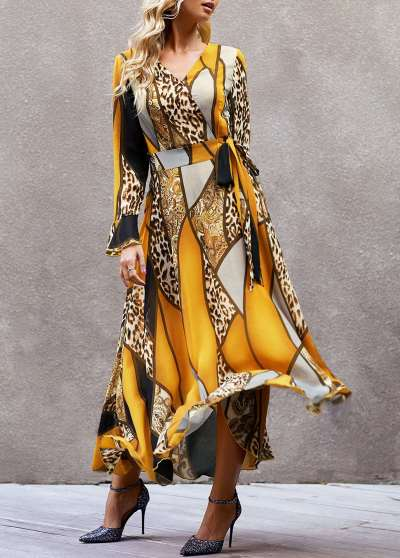 Stylish Print V neck Long sleeve Lacing Skater Maxi Dresses