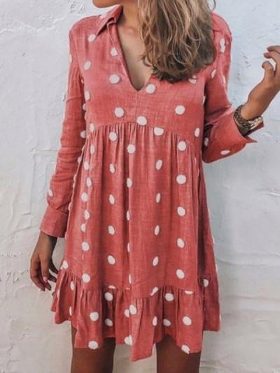 Stylish printed v neck long sleeve chi skater dresses