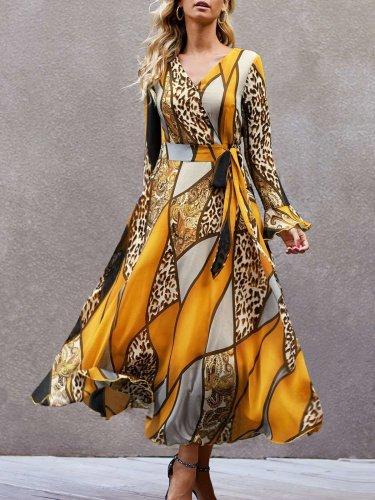 Stylish Print V neck Long sleeve Lacing Skater Maxi Dresses