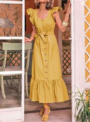 Fashion Pure Round neck Sleeveless Fastener Falbala Lacing Maxi Dresses