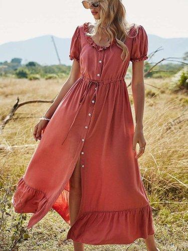 Casual Loose Pure Round neck Short sleeve Falbala Lacing Maxi Dresses