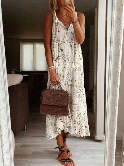 Casual Loose Floral print V neck Sleeveless Maxi Dresses