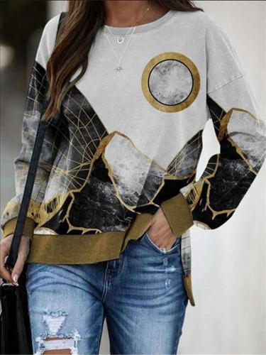 Casual Loose Landscape print Round neck Long sleeve Sweatshirts