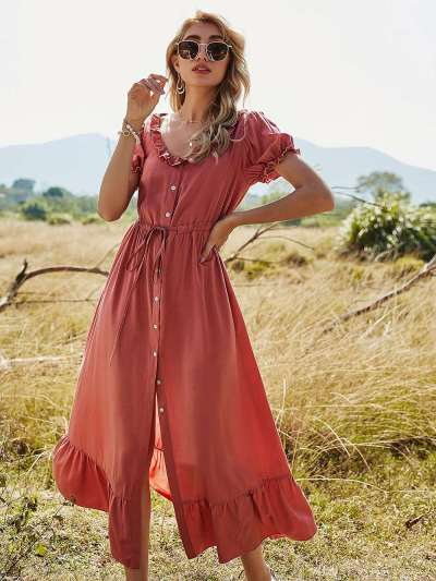 Casual Loose Pure Round neck Short sleeve Falbala Lacing Maxi Dresses