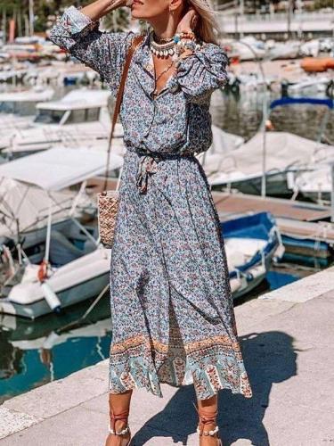 Casual Floral print Lapel Long sleeve Lacing Skater Dresses