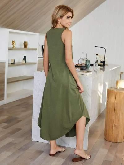 Casual Pure V neck Sleeveless Irregular Maxi Dresses