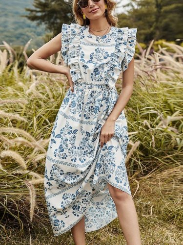 Fashion Casual Floral print Round neck Sleeveless Falbala Maxi Dresses