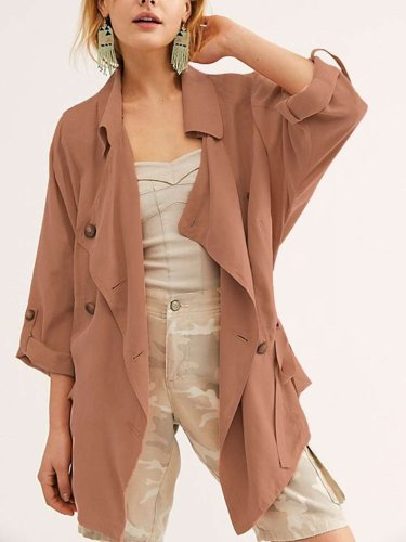 Wome Pure Lapel Long sleeve Coats