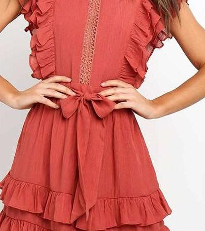 Fashion Pure Hollow out Round neck Sleeveless Lacing Falbala Skater Dresses