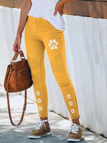 Casual printed slim long pants for women