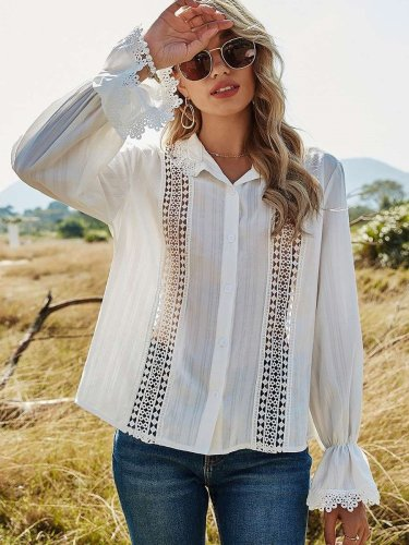 Pure Hollow out Lapel Long sleeve Blouses
