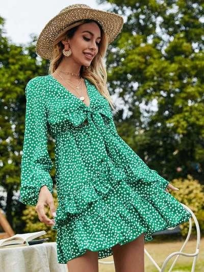 Fashion Point print V neck Long sleeve Skater Dresses