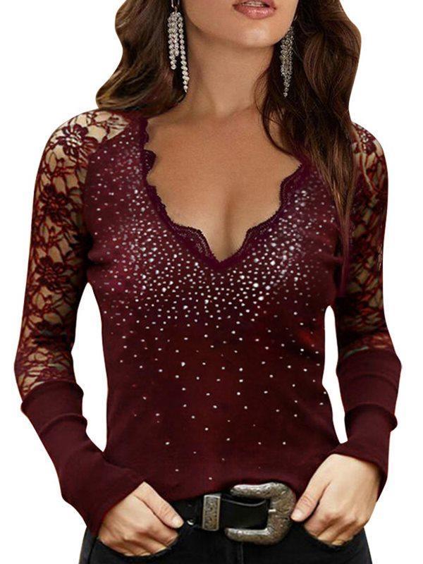 Women v neck lace secy long sleeve shine T-shirts