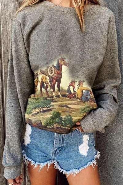 Casual Print Round neck Long sleeve Sweatshirts