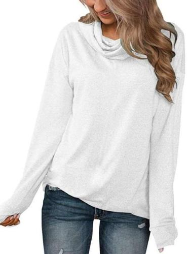 Casual Pure Heap collar Long sleeve T-Shirts