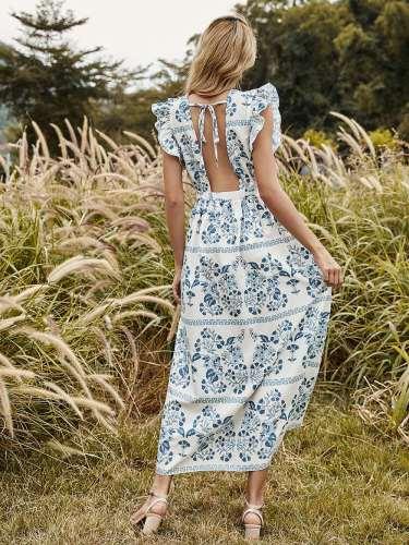 Fashion Casual Floral print Round neck Sleeveless Falbala Maxi Dresses