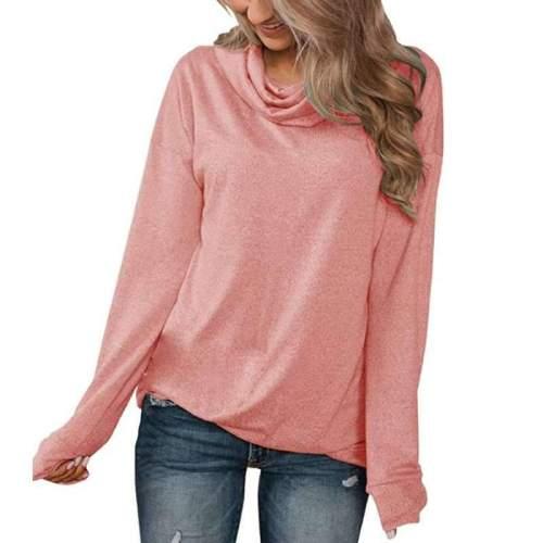 Casual Pure Heap collar Long sleeve T-Shirts