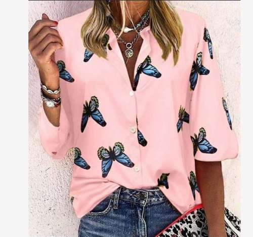 Casual Butterfly print Lapel Long sleeve Blouses