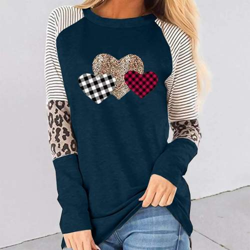 Casual  Heart print Round neck Gored Long sleeve T-Shirts