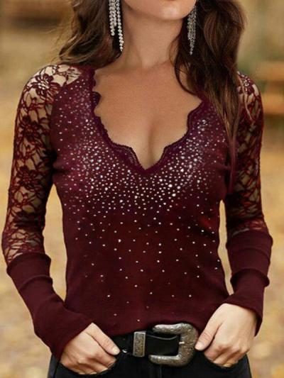 Women v neck lace secy long sleeve shine T-shirts