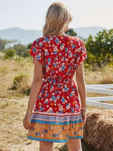 Casual Floral print V neck Short sleeve Drawstring Skater Dresses