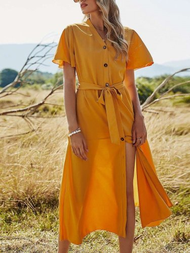 Casual Pure V neck Short sleeve Fastener Lacing Maxi Dresses