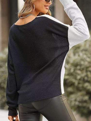 Casual Gored Kink V neck Long sleeve Knit T-Shirts