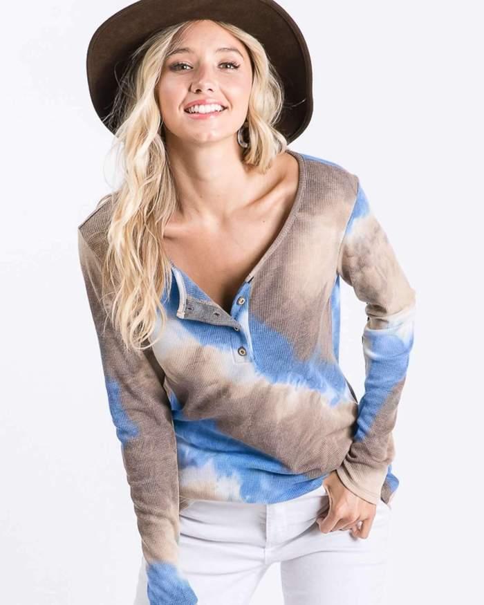 Fashion Tie-dye wind Leisure Round neck Long sleeve Fastener T-Shirts