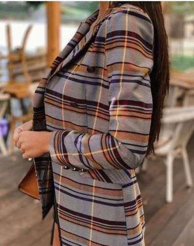 Fashion Stripe print Lapel Long sleeve Blazer