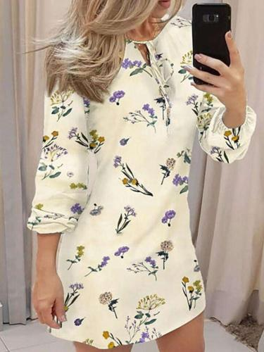 Fashion Print Round neck Lacing Long sleeve Shift Dresses