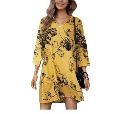 Casual Loose Floral print V neck Three quarter sleeve Shift Dresses