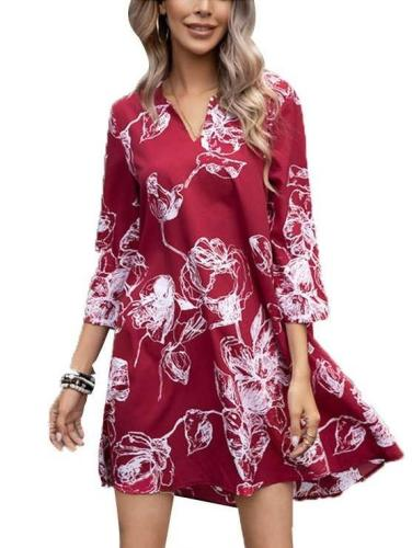 Casual Loose Floral print V neck Three quarter sleeve Shift Dresses