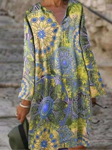 Casual Loose Floral print V neck Long sleeve Shift Dresses