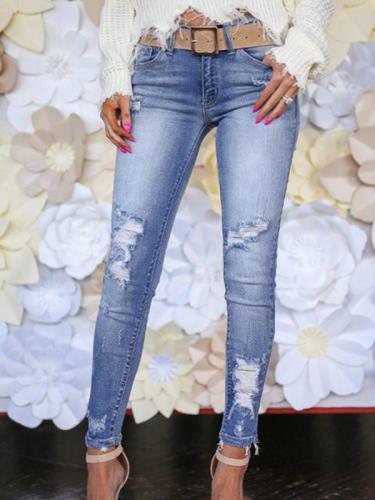 Fashion blue Sanding slim pants women jeans