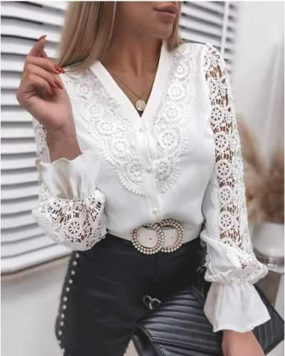 Fashion Pure Lace Long sleeve Blouses