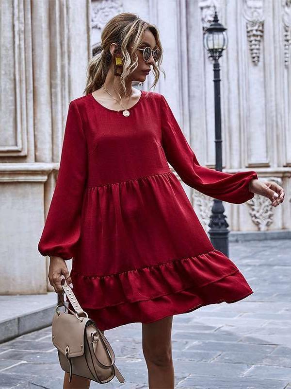 Fashion Casual Pure Round neck Long sleeve Gored Falbala Shift Dresses