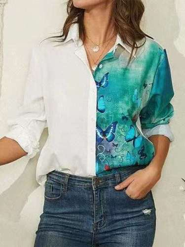 Fashion Casual Gored Print Lapel Long sleeve Blouses