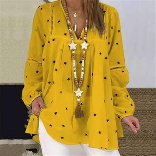 Casual Loose Star print V neck Long sleeve Hollow out Blouses