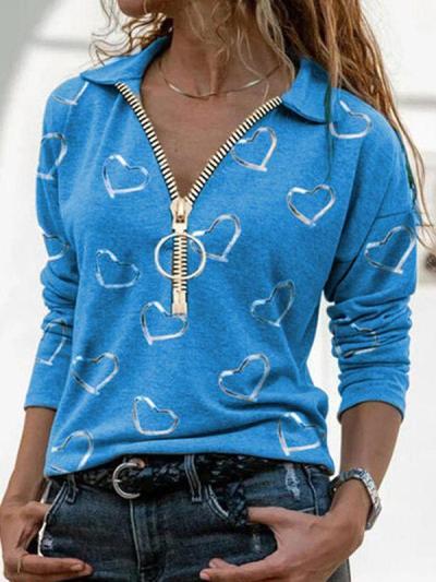 Love digital printed V-neck zipper fashion casual long sleeve T-shirts