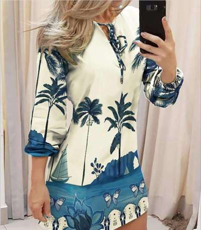 Fashion Print Round neck Lacing Long sleeve Shift Dresses