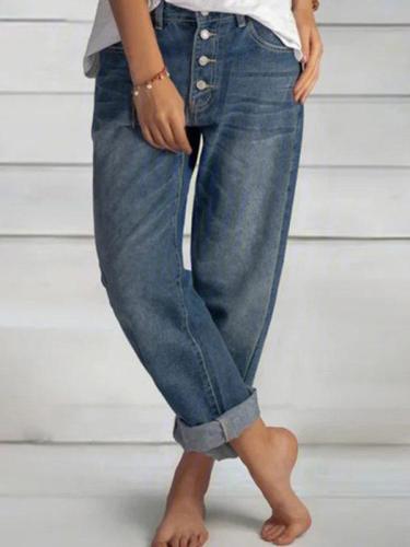 Women casual button design long pants blue denim jeans