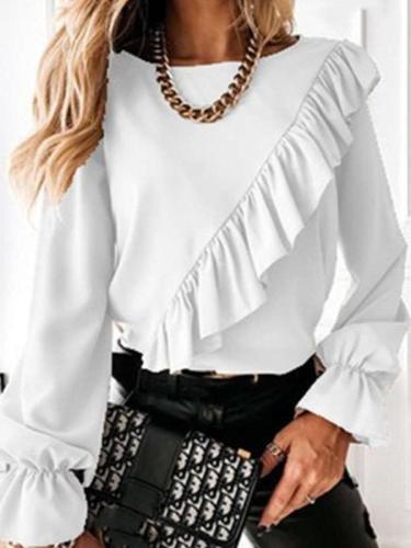 Pure Round neck Long sleeve Falbala Blouses