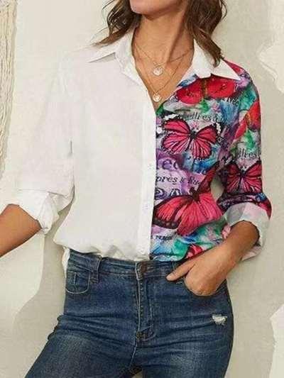 Fashion Casual Gored Print Lapel Long sleeve Blouses